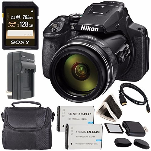 - Nikon COOLPIX P900 Digital Camera 26499 + Rechargable Li-Ion Battery + Charger + Sony 128GB SDXC Memory Card + Small Soft Carrying Case + HDMI Cable + Card Reader + Memory Card Wallet Bundle