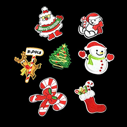 Christmas Embroidered Patches Xmas Iron On Appliques Winter Sew On Fabric Badges with Lovely Santa Tree Snowman Bear Santa Claus Deer Bow Gift Design DIY for Christmas Costume Accessories(7 PCS)