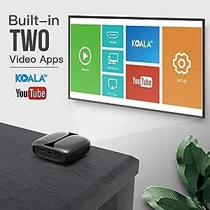 Mini Proyector portátil HD, Mini proyector de Bolsillo, soporta 1080P WiFi/BT/HDMI/USB Ideal para Cine en casa y Entretenimiento al Aire Libre (Black)