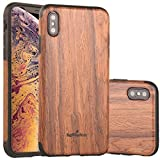 NeWisdom iPhone Xs Max Case Wood, iPhone X S Max Wood Case Unique Slim Thin Soft Protective Anti-Shock Shockproof (6.5'' iPhone 2018 Sandal)