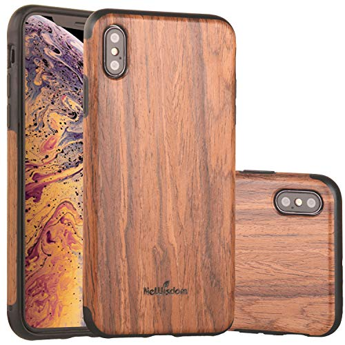 NeWisdom iPhone Xs Max Case Wood, iPhone X S Max Wood Case Unique Slim Thin Soft Protective Anti-Shock Shockproof (6.5
