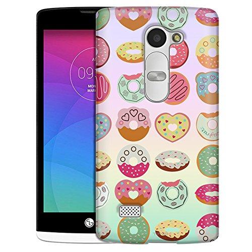 LG Leon Case, Slim Snap On Cover Cute Dounut on Pastel Rainbow Case