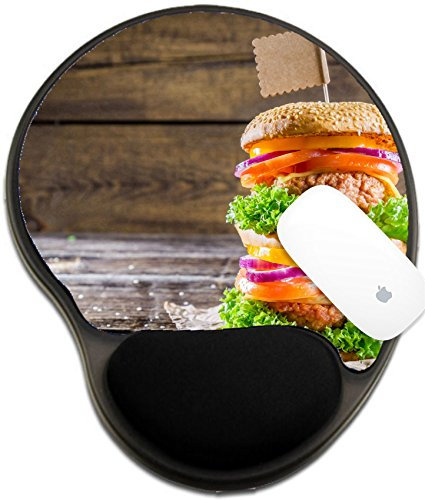 Luxlady Mousepad wrist protected Mouse Pads/Mat with wrist support design IMAGE ID 27676152 Enjoy your double decker burger