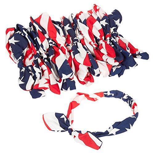 Set of 12 American Flag Headbands - USA Flag Bandana Patriotic Headband Bowknot Style for Sports, Gym, Patriotic Display, Red, White & Blue
