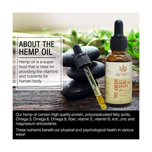 Bio-Active Hemp Oil Drops- 30% (3000mg) Organic Ultra Premium Formula – Hemp Oil Drop for Sleep Support, Stress & Anxiety Relief, Vegan Friendly (1 Pack 30ml)