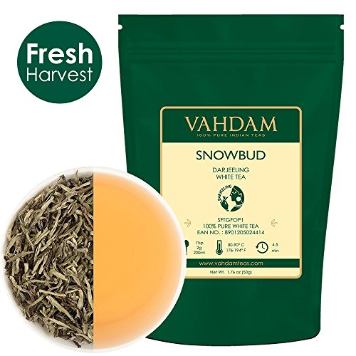 Silver Needle White Tea Leaves from Darjeeling (25 Cups), White Tea Loose Leaf Sourced Direct from High Elevation Estates in the Himalayas, 1.76oz by VAHDAM