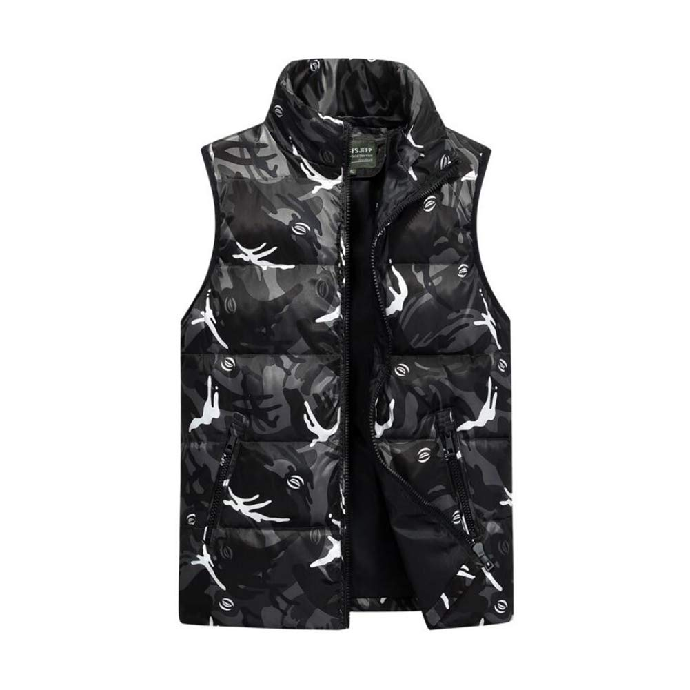 2018 New Men's Lightweight Winter Down Vest, Fashion Youth Short Camouflage Vest Coat Outerwear Gilets Waistcoat (Color : 2, Size : M) YaXuan
