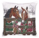 """Horse's Holiday Decorative Christmas Throw Pillow 17"""" x 17"""""""