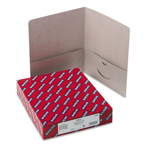 Two-Pocket Portfolio, Embossed Leather Grain Heavy Paper, Gray, 25/Box, Sold as 1 Box ()