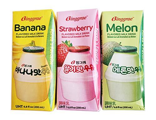 - Binggrae Variety Banana, Strawberry, Melon Flavored Milk Drink 3 Pack