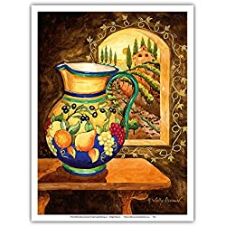 Pacifica Island Art Italian Earth Vase - Tuscany Italy - Italian Villa, Vineyards - From an Original Watercolor Painting by Robin Wethe Altman - Master Art Print - 9in x 12in