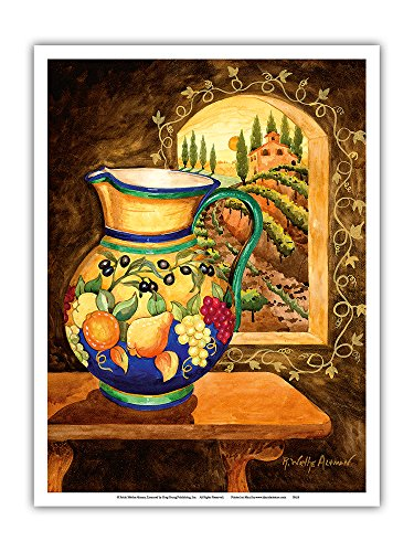 Italian Earth Vase - Tuscany Italy - Italian Villa, Vineyards - from an Original Watercolor Painting by Robin Wethe Altman - Master Art Print - 9in x 12in