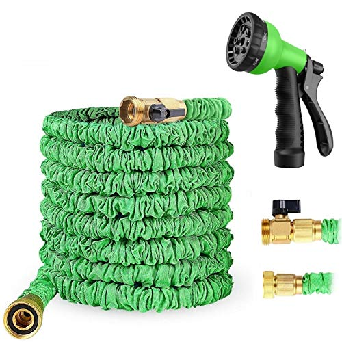 Le`Pasiaque 50 Feet Expandable Garden Hose – Flexible Water Pipe with Bonus 8-Mode High Pressure Spray Nozzle – Extra Strong Stretch Material with 3/4″ Solid Brass Fittings and ON/OFF Valve