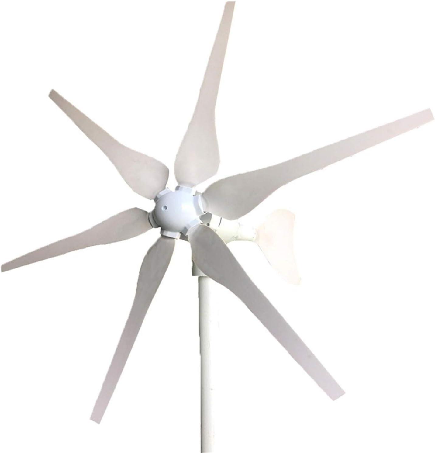 WJSWA Aerogenerador, Turbina Uso doméstico Pequeño Viento 12V 24V 400W 6 Cuchillas Residencial Jardín generador de Viento