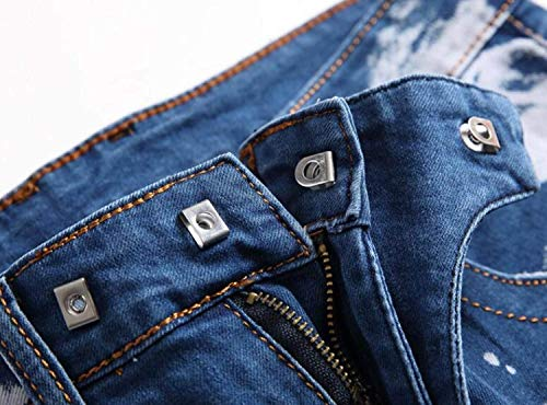 Blu Casual Jeans Strappati A Uomo Bassa Vita Alta Fit Da Slim pqSnZawp