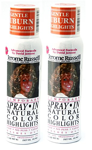 Jerome Russell SPRAY IN Natural Color Highlights TWO PACK - Gentle Auburn - Clean, Easy Washes Out - 2 x 3.5 oz Temporary Hair Color -
