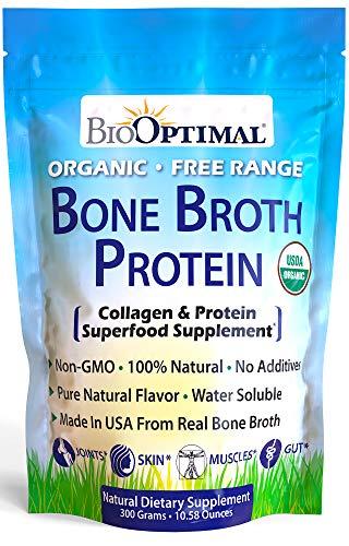 Bone Broth Protein Powder, Organic Bone Broth Collagen, High Quality, Chicken Bone Broth - Natural Flavor, USDA Organic, Keto & Paleo, Non-GMO, Gluten & Dairy Free