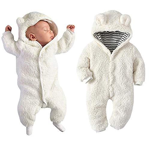 LOTUCY Newborn Baby Boys Girls 3D Cartoon Bear Hooded Romper Long Sleeve Warm Fleece Jumpsuit Outfits Size 0-6Months/Tag70 (White)