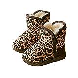 BININBOX Girls Leopard Winter Snow Boots Warm Cotton Shoes Kids (8 M US Toddler, Light Coffee)