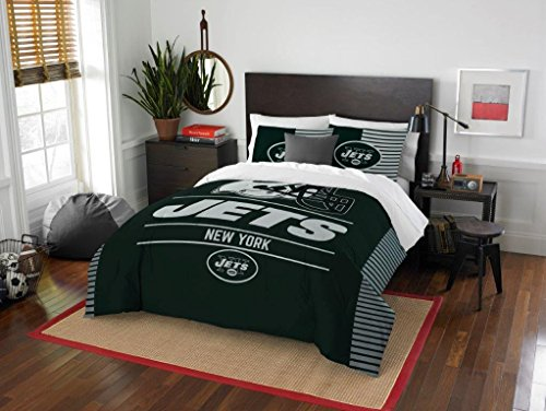 New York Jets - 3 Piece FULL / QUEEN SIZE Printed Comforter & Shams - Entire Set Includes: 1 Full / Queen Comforter (86