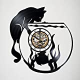 Toffy Workshop Vinyl Record Wall Clock for Cat Fans - Exciting guest room decor - Perfect gift idea for children, adults, men and women - Unique Art Design with Aquarium