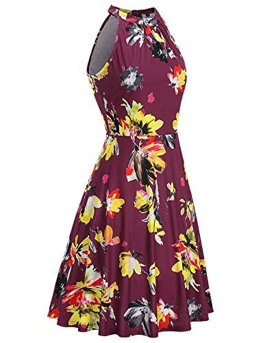OUGES Women's Halter Neck Floral Summer Casual Sundress