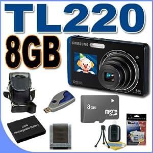 Samsung TL220 DualView 12MP Digital Camera w/4.6x Wide Angle Optical Zoom (Blue) BigVALUEInc Accessory Saver 8GB Battery Bundle