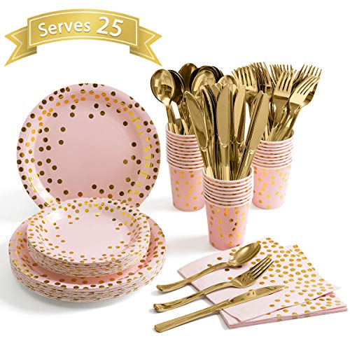 Pink and Gold Party Supplies - Disposable Dinnerware Set Serves 25 Gold Dots on Pink Paper Plates Cups and Napkins, Gold Plastic Knives Spoons Forks for Baby Shower Wedding Party Bridal Shower