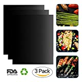 #10: BBQ Grill Mat - Set of 3 Non-stick Grill Mats Reusable Grilling Mats Dishwasher Safe Barbecue Utensil for Meat Biscuit Baking by iLOME