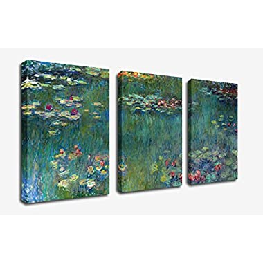 Water Lilies by Claude Monet Oil Painting Canvas Prints Wall Art Decor Framed Ready to Hang - 3 Panel Large Size 30 by 60 Inch Modern Giclee Art Work for Home Office Living Room Bedroom Decoration