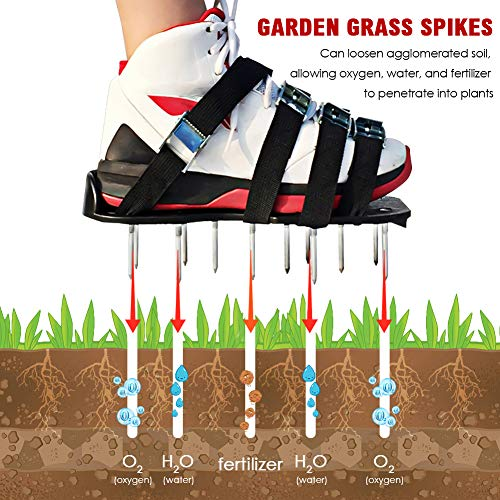 MultiOutools Lawn Aerator Shoes Spiked Aerating Lawn Sandals Ripper Gardening Tool for Loosening Lawn &Yard Soil-26 Steel Spikes, 4 Secure Woven Straps &4 Zink Alloy Buckles-One Size Fits All (Black) by Multi Outools (Image #1)