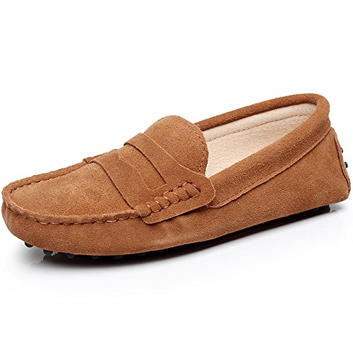 Slippers rismart Classic Suede Loafers Women's Driving Soft Tan Moccasin Leather Shoes zqZwS7R