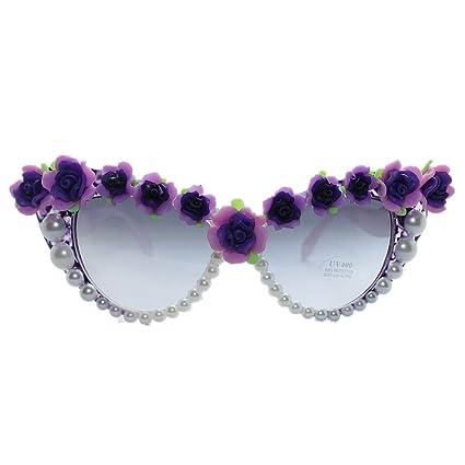 Peggy Gu Brillantes Rosas Hechas a Mano y Perlas Gafas de ...
