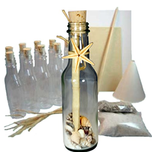 Message Bottle Wedding Invitations - 20 Message in a Bottle Invitations Kit for Weddings, Parties and Events (Beach/Ocean, Glass)