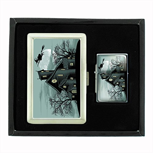 Perfection In Style Cigarette Case and Oil Lighter Gift Set Vintage Halloween Design 021