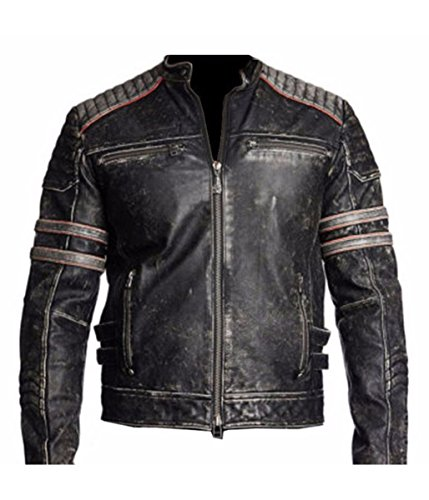 Leatherly Chaqueta de hombre Retro Vendimia Distressed Genuine chaqueta de cuero negro