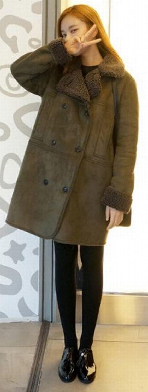 YUNY Women's Thicked Faux Suede Woolen Coat Lapel Sheepskin Liner
