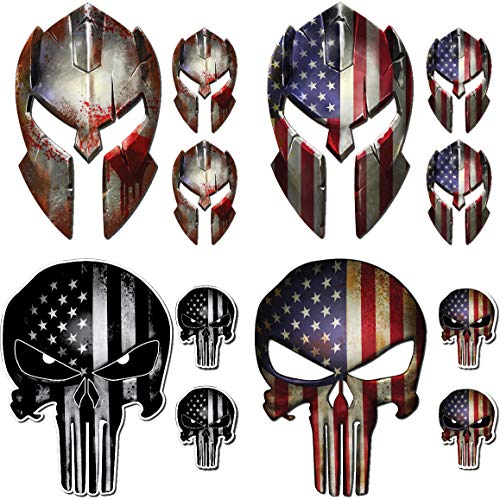 12 Pack Punisher Skull Molon Labe Decal Sticker Variety Pack American Flag Vinyl Decal Sticker Car Truck (12 Pack) (Punisher Skull Sticker)