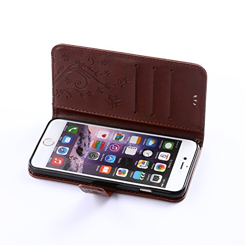 iPhone 6 / iPhone 6S Case, Urvoix(TM) Card Holder Stand Smooth Hand Feel PU Leather Wallet Case - Embossed Flower Butterfly Flip Cover for 4.7 Version iPhone6/6S (NOT for 6Plus) by Urvoix