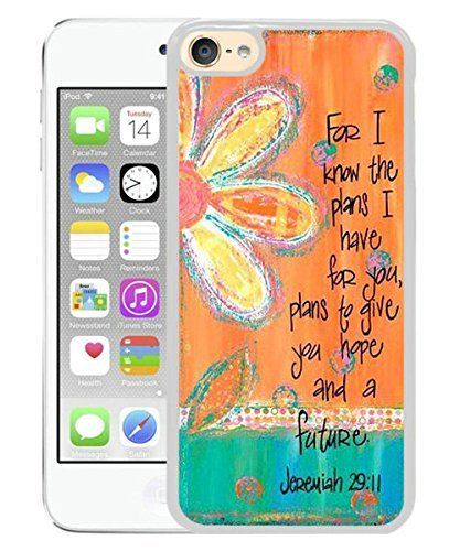 Bible Verse ,Vintage floral. For I know the plans I have for you. Plans to give you hope and a future. Jeremiah 29 11 White for iPod touch 6 Case