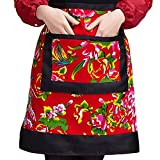 Flowers Print Half Bistro Apron Chinese Native Style Kitchen Apron(Black/Red)