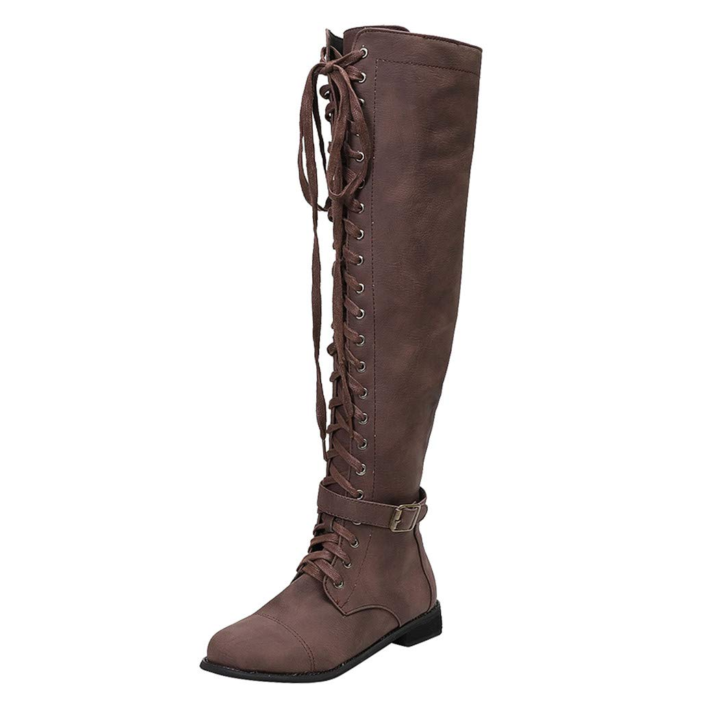 Women's Over The Knee Stacked Chunky Low Heel Retro Lace Up Long Tube Toe High Tall Boots (US:9.0, Coffee)