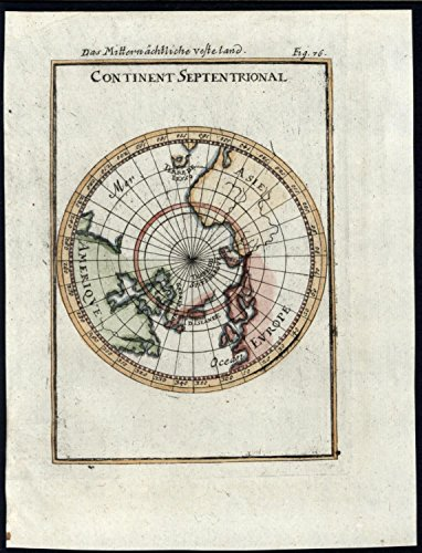 Northern Hemisphere North Pole Calif. as island 1719 vintage antique small map (Calif Map)