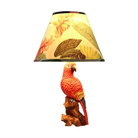 Retro Small Table Lamp Fashion Parrot Decorative Lights Bedroom Bedside Lamp    3 Switch Mode (