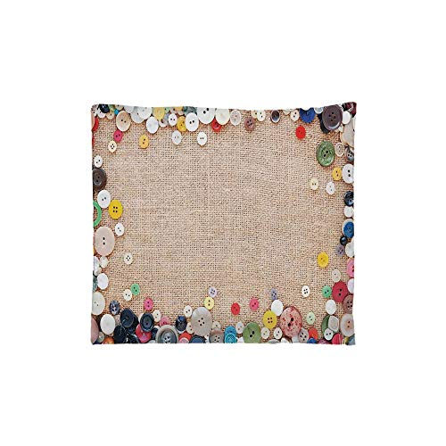 - Indoor/Outdoor Square Seat Cushion,Comfort Memory Foam Chair Pad,Vintage,Buttons Collection Fabric Texture Canvas Frame Sewing Needlecraft Contemporary Picture,Light Brown,Fit for most of chairs