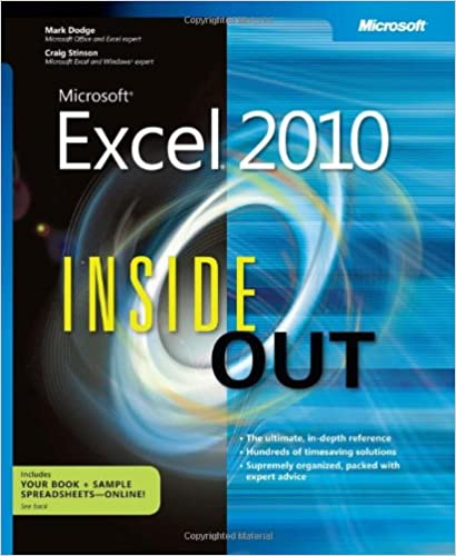 microsoft excel 2010 inside out craig stinson mark dodge