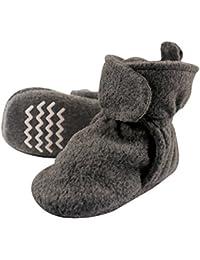 Unisex Baby Cozy Fleece Booties, Dark Gray, 6-12 Months