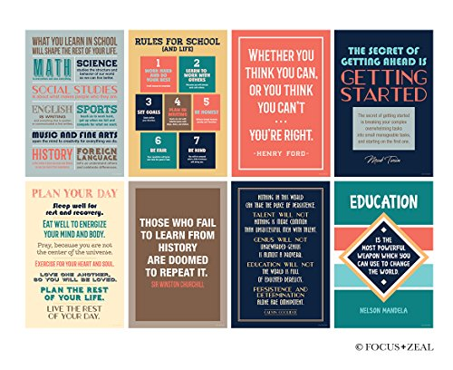 Back to School Historical Inspirational Motivational Posters For Classroom; Success Wall Art Inspired by Famous Quotes Leaders and Thinkers for School and Office, 12x18 Inch Size, Set of 8 Unframed