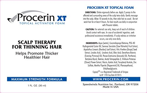 Procerin Hair Loss Foam No Minoxidil DHT Blocking Regrowth Formula