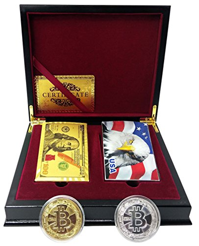Big Texas Mall 24k Gold Poker Playing Cards w/2 Deck Mahogany Gift/Display Box w/2 Bitcoin Coins Silver & Gold Pro Qlty, Ben Franklin 100 Bill Gold & Silver Eagle Foil Plated Prestige Set w/Cert by Big Texas Mall